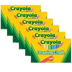 Crayola® Colored Drawing Chalk, Assorted Colors, 24 Pieces Per Box, Pack Of 6 Boxes