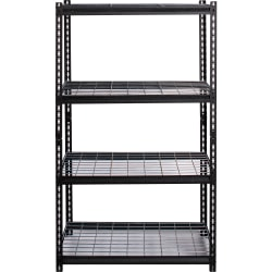 """Lorell Wire Deck Shelving - 60"""" Height x 36"""" Width x 18"""" Depth - Recycled - Black - Steel - 1Each"""