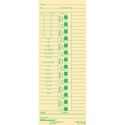 """Office Depot® Brand Time Cards With Deductions, Weekly, Days 1–7, 2-Sided, 3 3/8"""" x 8 7/8"""", Manila, Pack Of 100"""