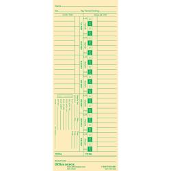 """Office Depot® Brand Time Cards, Biweekly, Days 1–7, 2-Sided, 3 3/8"""" x 8 7/8"""", Manila, Pack Of 100"""