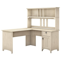 """Bush Furniture Salinas 60""""W L Shaped Desk with Hutch, Antique White, Standard Delivery"""