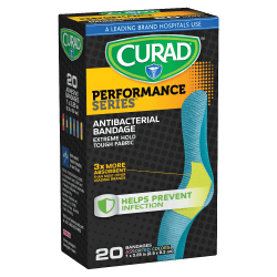 """CURAD® Antibacterial Adhesive Bandages, 1"""" x 3 1/4"""", Assorted Colors, Pack Of 20"""