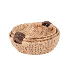 Honey-Can-Do Water Hyacinth Baskets, Round, Natural/Brown, Pack Of 3