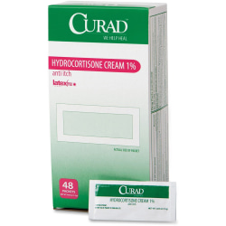 Curad Hydrocortisone Cream 1 Pct Packets - For Eczema, Allergic Rashes, Psoriasis - 0.05 oz - 48 / Box