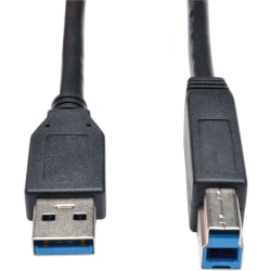 """Tripp Lite 6ft USB 3.0 SuperSpeed Device Cable 5 Gbps A Male to B Male Black - USB for Hard Drive, Printer - 640 MB/s - 6 ft - 1 x Type A Male USB - 1 x Type B Male USB - Black"""""""