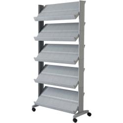 """Paperflow Large Mobile Literature Display - 66"""" Height x 33.7"""" Width x 15.2"""" Depth - Floor - Silver - Metal, Plastic - 1 Each"""