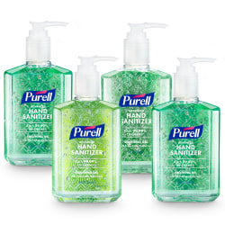 PURELL® Advanced Hand Sanitizer Soothing Gel, Fresh Scent, 8 fl oz Pump Bottle, 4/CT