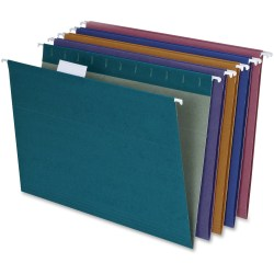 "Pendaflex® Reinforced Polylaminate Hanging File Folders, 3/4"" Expansion, Letter Size, 1/5 Tab Cut, Assorted Colors, Box Of 20 Folders"