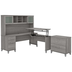"""Bush Furniture Somerset 72""""W 3-Position Sit-To-Stand L-Shaped Desk With Hutch And File Cabinet, Platinum Gray, Standard Delivery"""