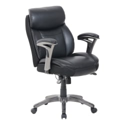 Serta® Smart Layers™ Siena Manager Bonded Leather Mid-Back Chair, Black