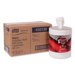 """Tork Advanced ShopMax Wiper 450 Wipes, 9-15/16"""" x 13-1/8"""", White, 200 Wipes Per Roll, Carton Of 2 Rolls"""