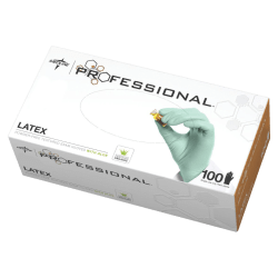 Medline Professional Aloe-Coated Latex Disposable Exam Gloves, Large, Green, Box Of 100
