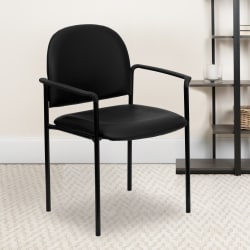 Flash Furniture Vinyl Comfortable Stackable Steel Side Chair With Arms, Black