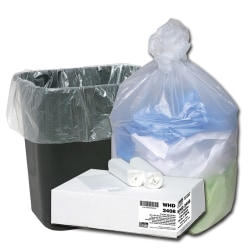 "Webster® Ultra Plus 8 mil Trash Bags, 10 gal, 24""H x 24""W, Natural, 500 Bags"
