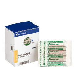"""First Aid Patch Bandages, 1-1/2"""" x 1-1/2"""", SmartCompliance Refill, 10 Bandages/Box"""