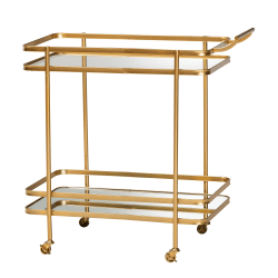 Baxton Studio Modern And Contemporary Glam Mirrored 2-Tier Metal Mobile Wine Bar Cart, Brushed Gold