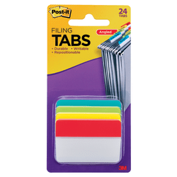 """Post-it® Notes Durable Angled Hanging File Folder Tabs, 2"""", Assorted Colors, Pack Of 24 Tabs"""