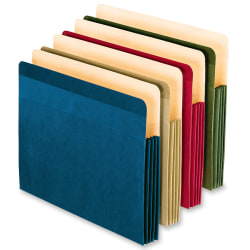 """Oxford® Expanding File Pockets, Letter Size, 3 1/2"""" Expansion, 100% Recycled, Assorted, Box Of 4"""