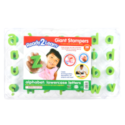 "Center Enterprises Ready2Learn Alphabet Letters Giant Stamps, Lowercase, 3"", Green, Pack Of 28"