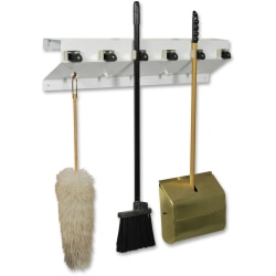 "Ex-Cell Clincher Mop And Broom Holder, 7-1/2""H x 34""W x 5-1/2""D, 30% Recycled, White"