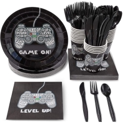 "Juvale Gamer Party Supplies For Kids Birthday €"" Serves 24 €"" Video Game Plates, Knives, Spoons, Forks, Cups And Napkins"