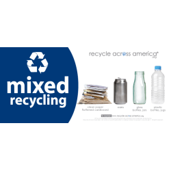 "Recycle Across America Mixed Standardized Recycling Labels, MXD-0409, 4"" x 9"", Navy Blue"