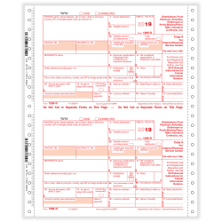 "ComplyRight™ 1099-R Tax Forms, Continuous, Copies A, B, C And D, 4-Part, 9"" x 11"", Pack Of 100 Forms"