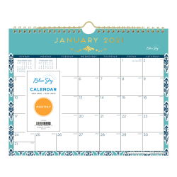 "Blue Sky™ Monthly Wall Calendar, 11"" x 8-3/4"", Sullana, January to December 2021, 116049"
