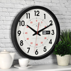 """FirsTime® Harris Day/Date Round Wall Clock, 14"""", Black/White"""