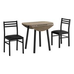 "Monarch Specialties Amy Dining Set, 30""H x 35""W x 35""D, Dark Taupe/Black"
