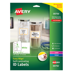 "Avery® Easy Align™ Self-Laminating ID Labels, AVE00756, 3 5/16"" x 2 5/16"", White, Pack of 100"