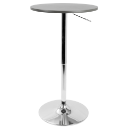 Lumisource Adjustable Contemporary Bar Table, Round, Gray/Silver