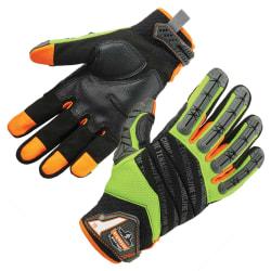 Ergodyne ProFlex 924 Hybrid Dorsal Impact-Reducing Gloves, Large, Lime