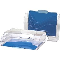 "OIC Clear Wave 2-way Desktop Organizer - 3 Compartment(s) - 3 Tier(s) - 11.3"" Height x 13"" Width x 3.6"" Depth - Desktop - Clear - Plastic - 1Each"