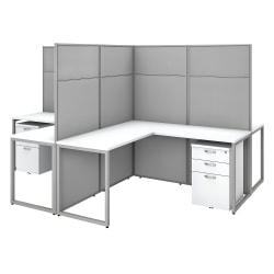 "Bush Business Furniture Easy Office 60""W 4-Person L-Shaped Cubicle Desk With Drawers And 66""H Panels, Pure White/Silver Gray, Standard Delivery"
