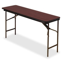 "Iceberg Premium Wood Laminate Folding Table, Rectangular, 72""W x 18""D, Mahogany/Brown"