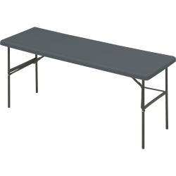 """Iceberg IndestrucTable TOO™ 1200-Series Folding Table, 72""""W x 24""""D, Charcoal Gray"""