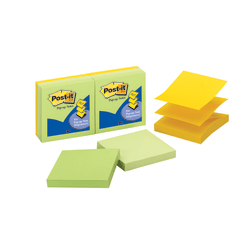"Post-it® Notes Pop-Up Notes, 3"" x 3"", Assorted Colors, Pack Of 6 Pads"