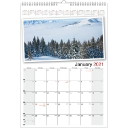 "Office Depot® Brand Monthly Wall Calendar, 12"" x 17"", Scenic, January to December 2021, ODUS2001-004"
