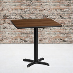 "Flash Furniture Square Hospitality Table With X-Style Base, 31-1/8""H x 30""W x 30""D, Walnut/Black"
