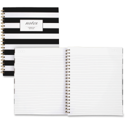 "Cambridge Hardcover Wirebound Notebook - 160 Pages - Twin Wirebound - Both Side Ruling Surface - Ruled - 11"" x 8 7/8"" - Black & White Cover Stripe - Hard Cover, Dual Sided - 1Each"