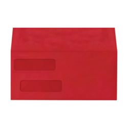 "LUX Double-Window Invoice Envelopes With Peel & Press Closure, #10, 4 1/8"" x 9 1/8"", Ruby Red, Pack Of 250"