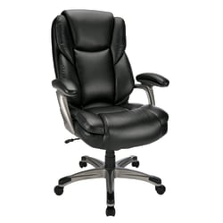 Realspace® Cressfield Bonded Leather High-Back Executive Chair, Black/Silver