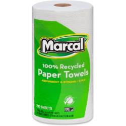 """Marcal® Premium Mega Roll 2-Ply Paper Towels, 9"""" x 11"""", 100% Recycled, White, 210 Sheets Per Roll, Carton Of 12 Rolls"""