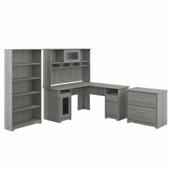 Bush Furniture Cabot L-Shaped Desk With Hutch, Lateral File Cabinet And 5-Shelf Bookcase, Modern Gray, Standard Delivery