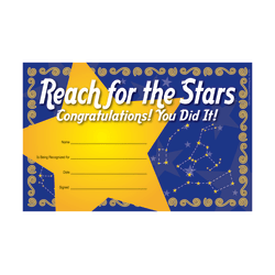 "Barker Creek Blank Award Certificates, Reach For The Stars, 8 1/2"" x 5 1/2"", Pack Of 30"