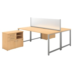 "Bush Business Furniture 400 Series 72""W x 30""D 2-Person Workstation With Table Desks And Storage, Natural Maple, Premium Installation"
