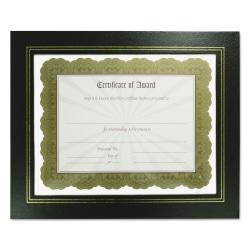 "NuDell Flat Leatherette Document Frames - Holds 11"" x 8.50"" Insert - Desktop - Horizontal, Vertical - Easel Back, Hanger - 2 / Pack - Leather, Plastic - Black"