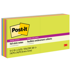 """Post-it® Super Sticky Full Stick Notes, 3"""" x 3"""", Rio De Janeiro Color Collection, Pack Of 12 Pads"""