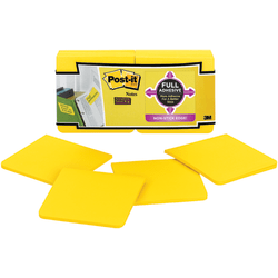 """Post-it® Super Sticky Full Stick Notes, 3"""" x 3"""", Electric Yellow, 25 Sheets Per Pad, Pack Of 12 Pads"""